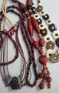 BUNDLE💋 5 pc boho earthy wood bead necklace lot